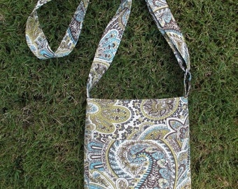 SMALL PAISLEY CROSSBODY Bag/Tote/Purse with Adjustable Strap