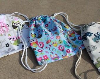 Toddler Size STRING BACKPACK/bag/tote- Chevron, Owl, Damask, Cars