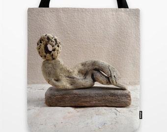 Selini, driftwood art tote, shopping bag, Aegean moon goddess, taupe, grey, winter white, soft, dreamy, Lesvos Greece