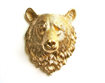 GOLD Large Bear Faux Taxidermy Bear Head Full Size Wall Mount 16 1/2 inches tall faux gold animal head nursery wall office decor