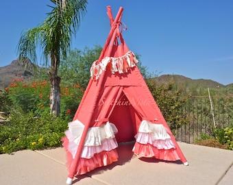 Ruffle TeePee (Custom, Made to Order) -- Fort  Tent  Indoor Outdoor Play Photo Prop Tee Pee Playhouse