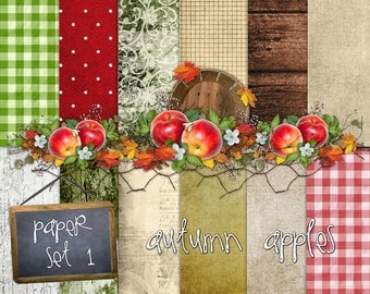 Autumn Apples Paper Set 1 - Digital Scrapbooking