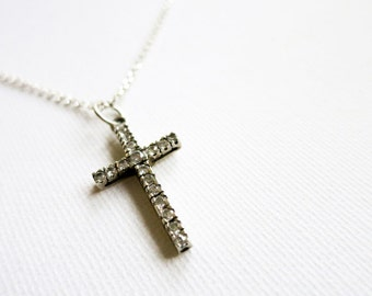 Vintage Silver 925 Cross Crucifix with Cubic Zirconia Stones