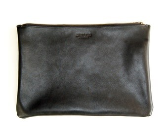 Black Charlie Bag (large) - Handmade Leather Clutch