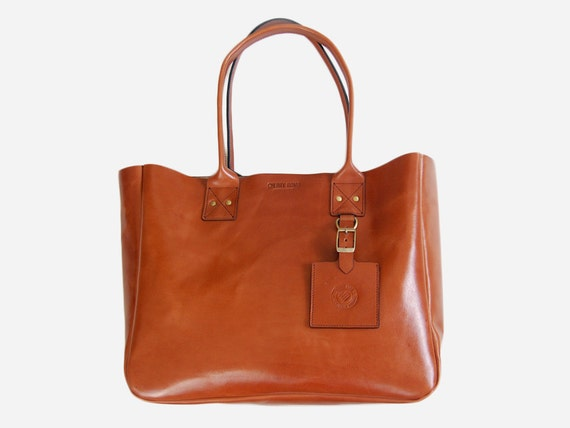 Cognac New York Tote with Zipper - Handmade leather Tote bag