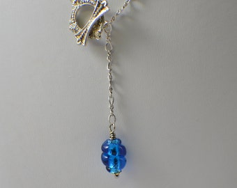 Lavalier necklace blue lampwork glass sterling silver chain and silver toggle lavalier necklace