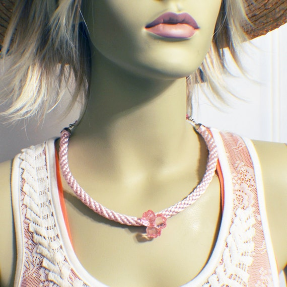Pink kumihimo necklace in braided satin with pink acrylic roses ladies or teen