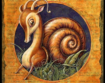 Surreal snail art print 8x8, Shellbound: Weird fantasy animal, hybrid creature, Chimera, Oddity curiosity, Odd natural history, Frustration