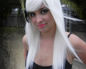 Ice White / Long Straight Layered Wig Halloween Holiday