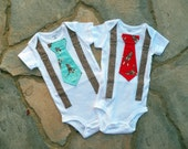 YOU PICK - Red or Blue Sock Monkey Baby Boy Tie Bodysuit with Suspenders - Birthday, Photo Prop, Baby Shower