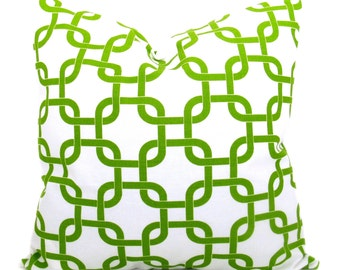 Green Pillow Decorative Throw Pillows 16x16 Pillow cover Home Decor Chain Lime Green Chartreuse Green Pillow Printed fabric both sides
