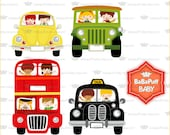 Children on Vehicles Clip Art Set 2---- Personal and Small Commercial Use ---- BB 0394