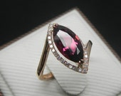Engagement Ring - Pink Tourmaline Ring With Diamonds In 14K Rose Gold