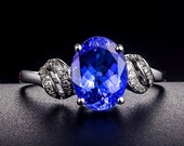 Engagement Ring -  2 Carat Tanzanite Engagement Ring With Diamonds In 14K White Gold