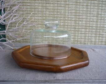 Vintage Teak Serving Tray with Glass Dome, Teak Cheese Tray, Mid Century Modern Appetizer Tray