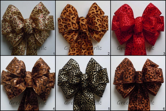 Leopard Wedding Bow Leopard Wreath Bow Animal Themed Party Decorations Leopard Birthday Party Animal Prints Holidays Wreath Bow