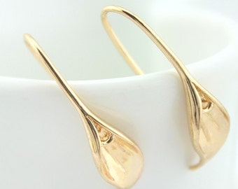 10 pcs raw brass plating gold flower petal  earring    pendant finding