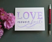 NOTECARDS Love Never Fails 1 Corinthians 13 - Inspirational Faith Scripture Greeting Card - Christian Wedding Marriage