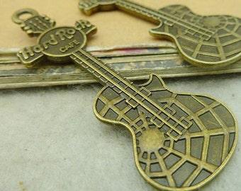 10PCS antique bronze 21x62mm guitar charm pendant- W4350