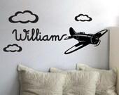 StickTak Stickers Cute Custom Name Plane Vinyl Wall Sticker for Boys Removable Art Decal Aeroplane