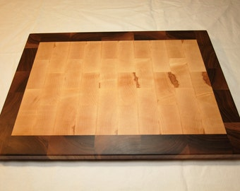 End Grain Cutting Board in Maple & Walnut - Funky Gift for the Chef or Gourmet