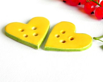 Yellow Apple Green Ceramic Button Heart Pottery with 4 Holes Set of 2 for Knitting and Crocheting