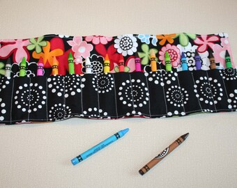 SALE! Crayon Roll Up, Crayon Organizer, Gift Under 10, Girl's Gift, No Ties Crayon Roll Up