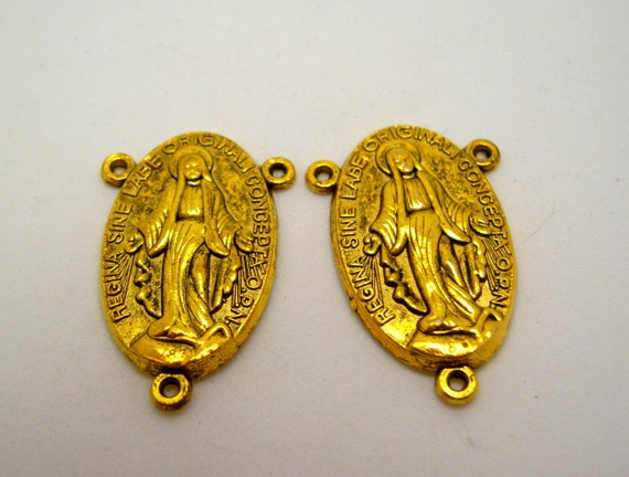 SALE - SALE - religious charms/rosary connectors - gold tone - 30mm (2)