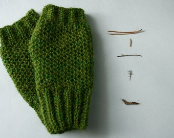 Hand knit fingerless gloves, green alpaca wrist warmers