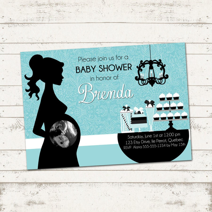 baby shower invitation elegant silhouette turquoise