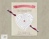 INSTANT DOWNLOAD - Printable Valentine Pencil Maze Cards