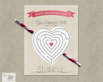 INSTANT DOWNLOAD - Printable Valentine Pencil Maze Cards