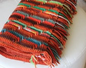 Rust, Orange, Red, Teal, Brown, Salmon and Green Handmade Crochet Afghan for Lap Warmth