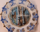 Vintage Souvenir Wall Hanging Plate Features Old Orchard Beach, Maine-Sights-Entrance to Pier, Bather's Paradise, Amusements and Shops