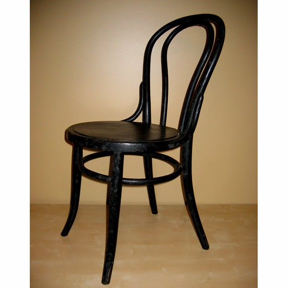 Vintage Black Thonet Bentwood Cafe Chair