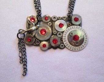 STEAMPUNK Necklace Vintage Silver Pocket Watch Part BIRD Gear Gunmetal Date Wheel RED Swarovski Crystal Two Tone by DKsSteampunk