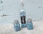Mosaic Blue Vinegar Salt and Pepper Set - PiecesofhomeMosaics