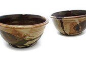 Small cereal bowls set of 2 in beige, rust, and brown