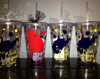 The Love of State Tumbler/ State Girl Tumbler Cup/ Personalized Tumbler witg State