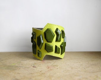 Cuff Leather Bracelet Lime green geometric jewelry, natural leather jewelry, handmade rhinestones