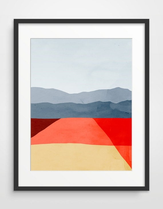 Mid Century Modern Art Print, Red Abstract Wall Art, Gift for Women, Gift  for Men, Minimalist Poster, Office Wall Decor, Abstract Landscape