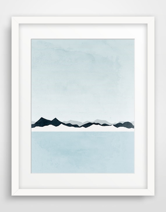 Blue and Grey Minimalist Poster, Large Wall Art, Modern Art, Mountains, Seascape