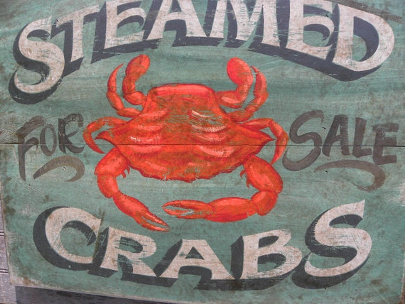 Cb2 Free Shipping >> Bay Crabs Sign-wood original hand painted wooden artfaux