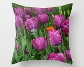 Tulips purple Spring flowers photo pillow cover