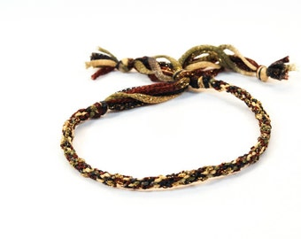 Kumihimo Bracelet Sparkle Earth Tone Brown Gold Jewelry