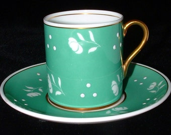 Shelley Green Sgraffito Stencil Cup And Saucer Mocha Demitasse Enamel Accents
