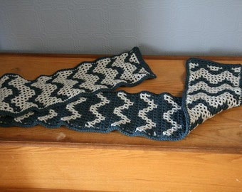 Blue and light gray scarf
