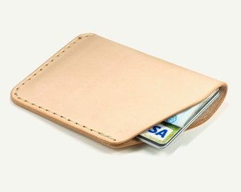 Leather Card Holder - Natural vegetable tanned leather