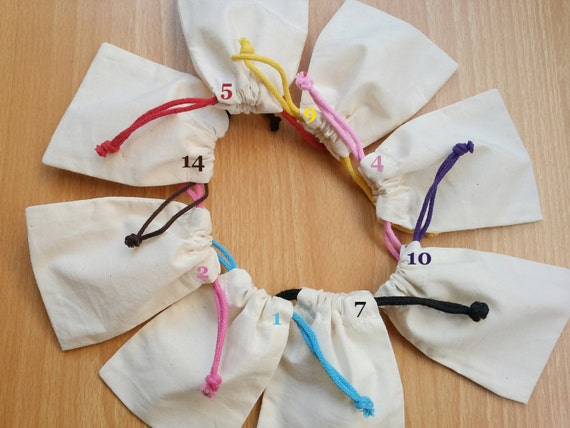 Custom Jewelry Packaging Cotton Muslin Bags with Black Red Blue Pink Drawstring Calico Pouches