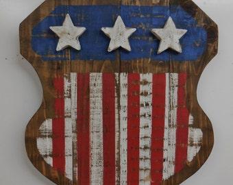 Americana flag shield, barn wood style flag, distressed flag, old west decor, primitive wall hanging, Americana wall decor, American Flag
